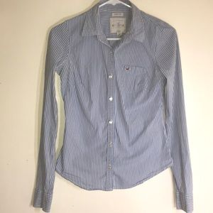 Blue and white pinstripe button up